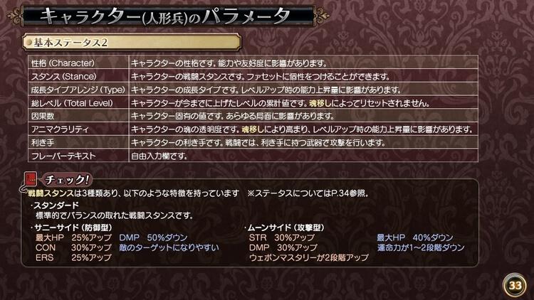 ルフランの地下迷宮と魔女ノ旅団 キャラクターのパラメータ
