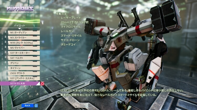 プロジェクト・ニンバス:CODE MIRAI GCTX-01 未来
