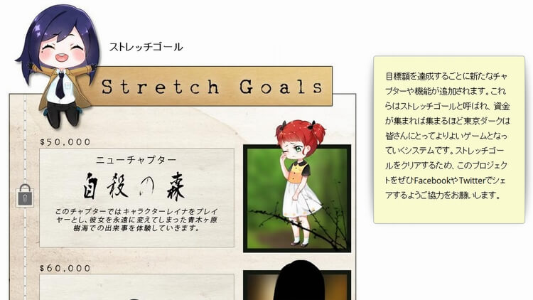 東京ダーク Kickstarter ストレッチゴール